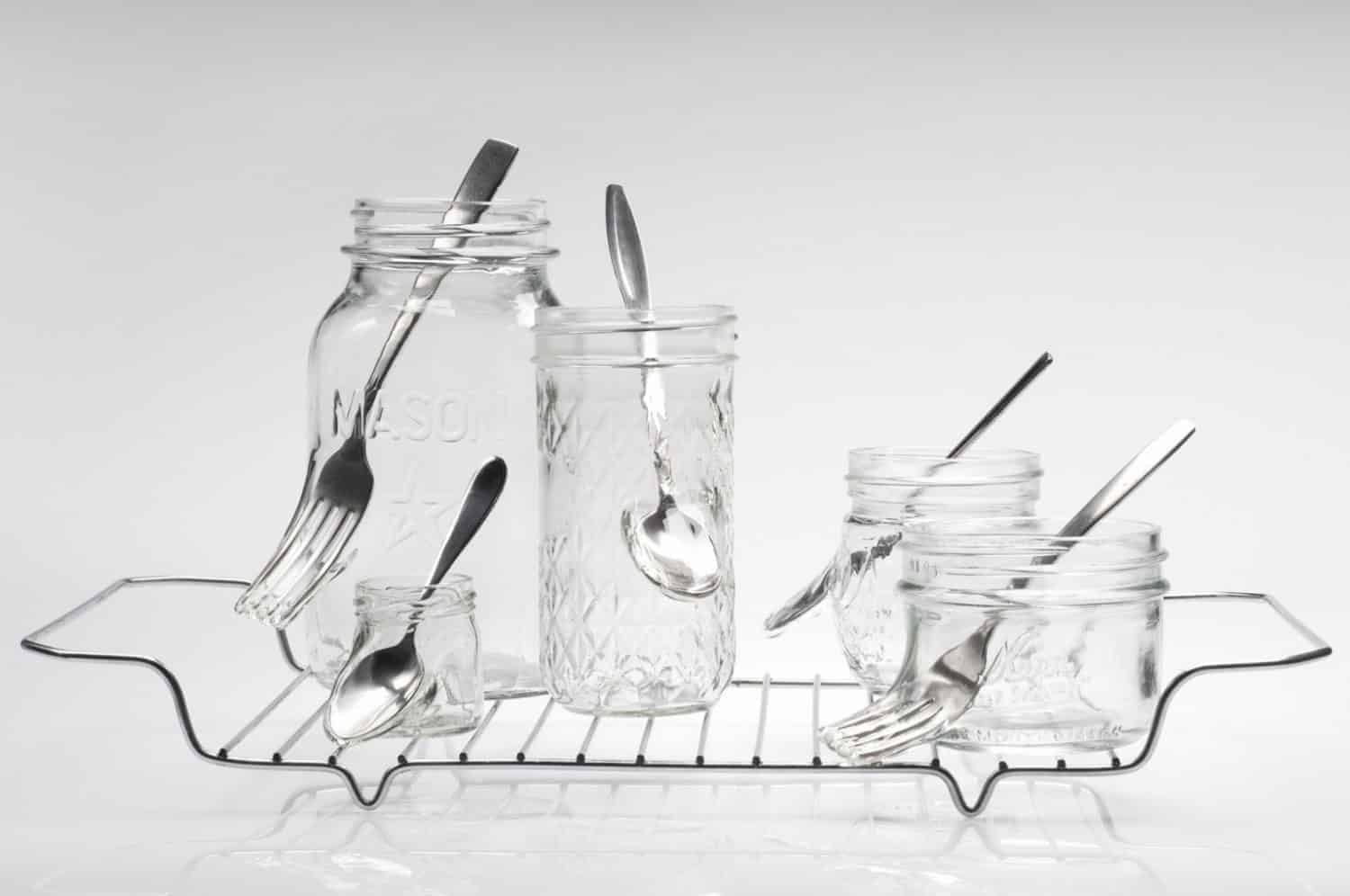 """""""Waste not want not,"""" Jelly jars, cutlery, stainless steel, 8.75 x 16.25 x 9 inches, photo credit: Elizabeth Torgerson-Lamark"""
