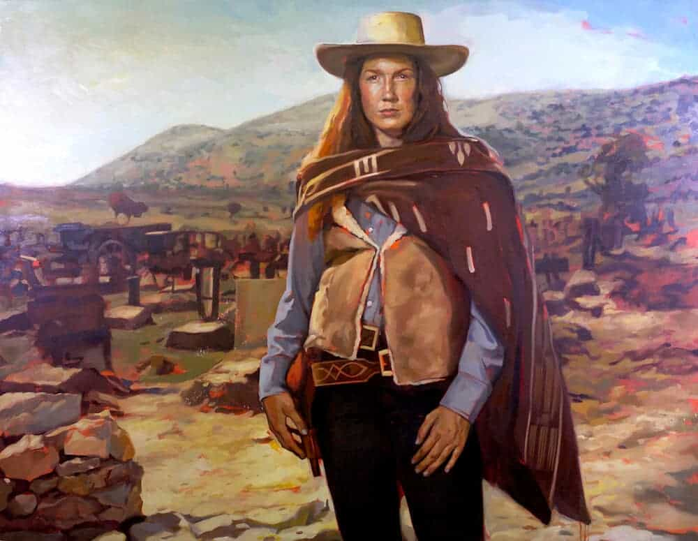 """Virginia Eastwood in """"The Good, the Bad and the Ugly"""", 2013. Oil on canvas, 62″ x 80″."""