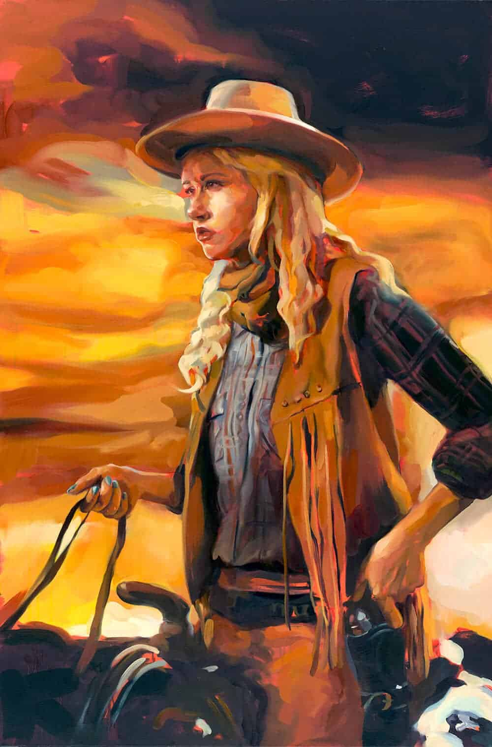 """Krimmie Wayne in """"The Searchers"""", 2013. Oil on canvas, 60″ x 40″."""