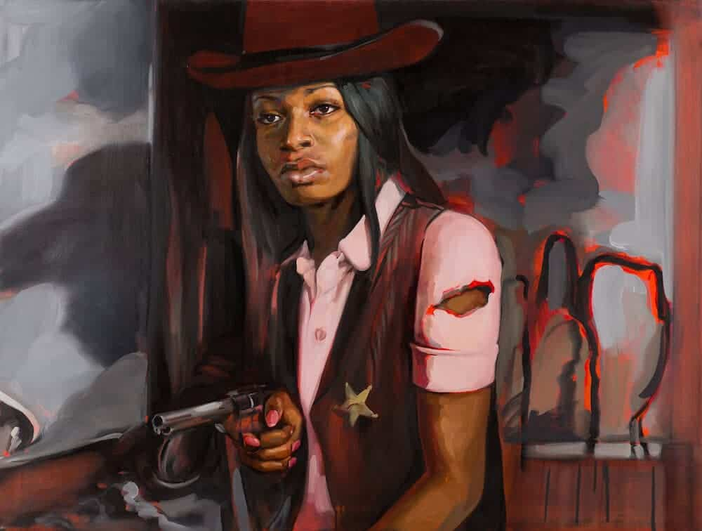 """Liakesha Cooper in """"High Noon"""", 2013. Oil on canvas, 36″ x 48″."""