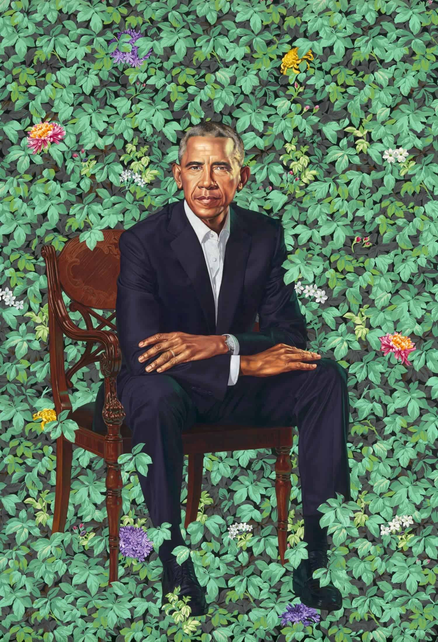 Barack Obama by Kehinde Wiley, oil on canvas, 2018. Courtesy National Portrait Gallery, Smithsonian Institution.