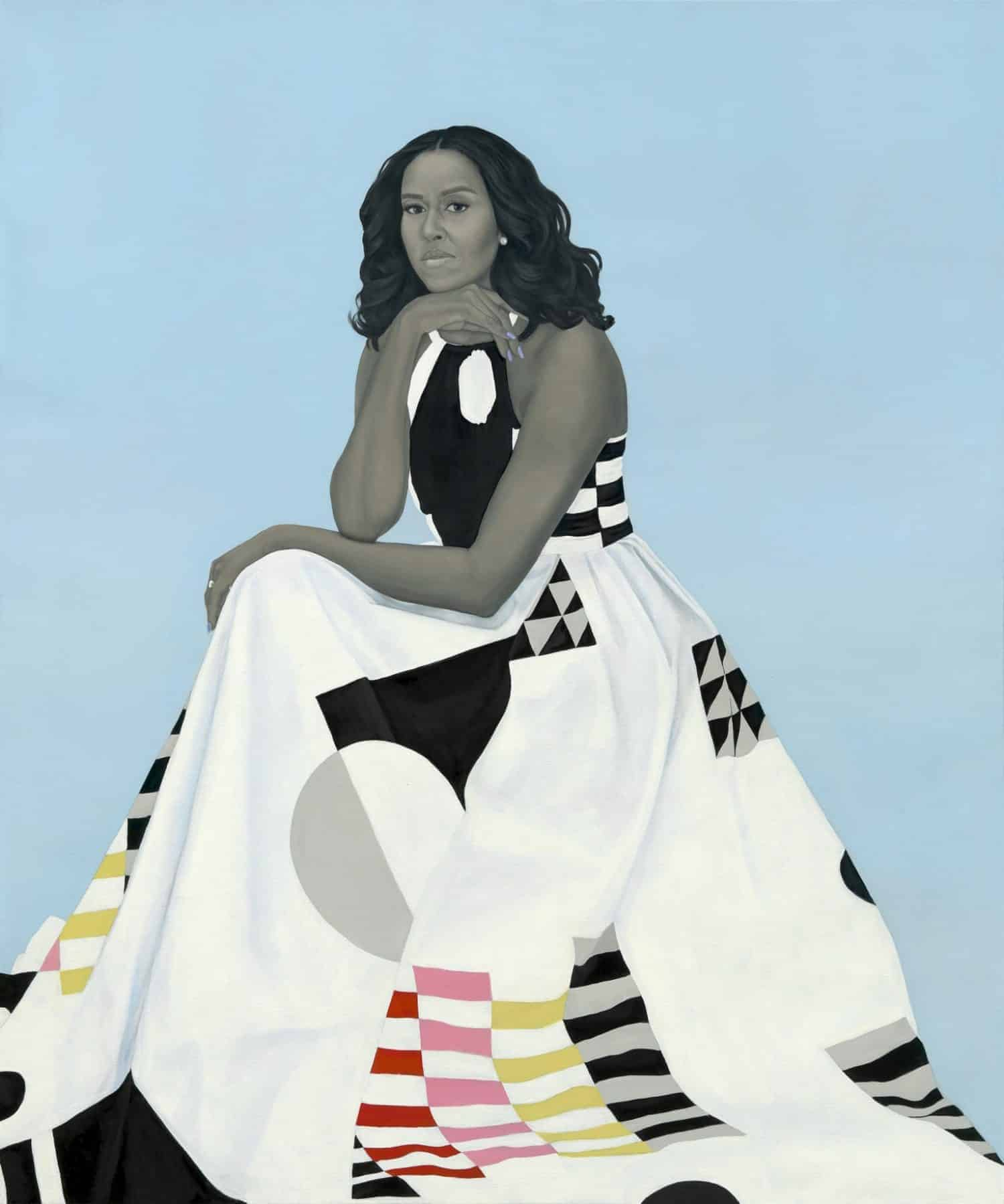 Michelle LaVaughn Robinson Obama by Amy Sherald, oil on linen, 2018. Courtesy National Portrait Gallery, Smithsonian Institution.