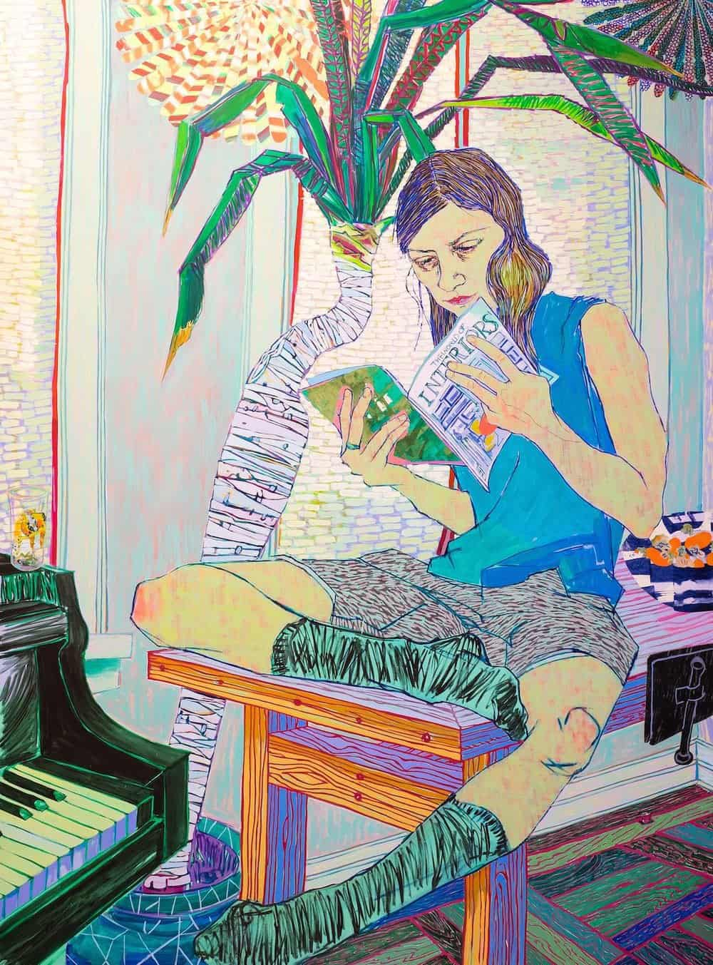 Couch Surfer, 2015, acrylic on canvas. 96 x 72 in.
